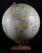 Globemaster Desktop 12 Inch Diameter Globe on Wooden Base. Replogle Globes, Inc. Good Condition. Measures 15-3/8 Inches Tall. Shipping $36.00
