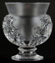 Lalique France Clear and Frosted Crystal Open Jar on Pedestal Base. Signed Acid Etched Block Letters. Please Examine This Lot Carefully Before Bidding, We are Selling This Lot in AS IS Condition. Measures 4-5/8 Inches Tall and 4 Inches Wide. Shipping $20.