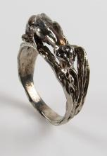 14 Karat White Gold Panther Ring, Size 8. Signed 14K. Good Condition. Weighs 4.50 Pennyweights. Shipping $20.00