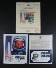 John Glenn Autographed Project Mercury 20th Anniversary Folio. Postal Commemorative Society together with PAAS Professional Autograph Authentication Services Certificate of Authenticity Dated 2009 with Complete Description and Photo of the Item and Has PAAS Stamp on Page. Good Condition. Measures 10-1/2 Inches by 8-3/8 Inches. Shipping $20.00