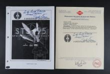 John Glenn Autographed STS-95 Space Shuttle Presskit. October 13, 1998 together with PAAS Professional Autograph Authentication Services Certificate of Authenticity Dated 2009 with Complete Description and Photo of the Item and Has PAAS Stamp on Page. Good Condition. Measures 11 Inches by 8-5/8 Inches. Shipping $20.00