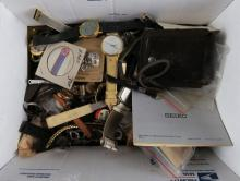 Box Lot Of Miscellaneous Watch Parts etc. etc. Shipping $20.00