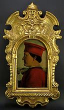 Ornate Sly Mirror Company Reproduction Sliding Mirror Covered by a Copy of a World Famous Painting after: Piero della Francesca Italian (1410-1492). Painting Slides Out to Reveal the Mirror. Signed with Paper Label en Verso. Very Good Condition. Measures 31-1/2 Inches by 17-1/4 Inches Wide. Shipping $200.00