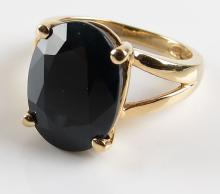 14 Karat Yellow Gold and Blue Sapphire Ring, Size 6. Signed 14K. Good Condition. Weighs 3.30 Pennyweights. Shipping $20.00