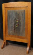 Vintage Oak Table Screen with Hand Painted Bird Motif. Signed. Good Condition. Measures 28 Inches Tall 17-1/2 Inches Long. We will Not Ship This Item In-House Due To Its Size, But Would Be Happy to Recommend a List Of Gallery Approved Vendors on Request.