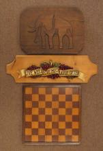 Carved Wooden Elephant, Live Well Plaque and Vintage Wooden Gameboard. We Will Not Ship This Item In-House Due to Its Size, But Would Be Happy To Recommend a List Of Gallery Approved Vendors On Request.