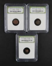 Three (3) Ancient Greek Bronze Coin Circa 300BC - 100BC encased in Plastic Holder. These Coins ARE NOT Professionally Graded, We DO NOT Grade Coins, Please See Photos and/or Information to Make your Own Value Judgment as to the Condition of these Coins. Shipping $20.00