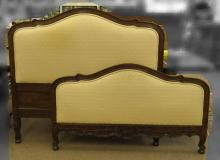 Full Size Upholstered Wooden Headboard Footboard and Railings. Good Condition. Headboard Measures 49 Inches Tall and 54 Inches Wide. We Will Not Ship This Item In-House Due To Its Size, But Would Be Happy To Recommend a List Of Gallery Approved Vendors On Request.