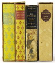 Four (4) Cased Hard Cover  Books by the Heritage Press. Spines Faded. William Shakespeare, Three Musketeers, Twenty Years After and The Newcomes. Shipping $38.00