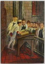 Oil on Wood Bar Mitzvah Signed in Hebrew Lower Right. Good Condition. Unframed. Measures 13-7/8 Inches by 9-7/8 Inches. Shipping $20.00