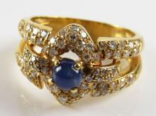 18 Karat Yellow Gold, 1.00 Carat Diamond and Sapphire Ring, Size 5-3/4. Unsigned. Good Condition. Weighs 4.10 Pennyweights. Shipping $20.00