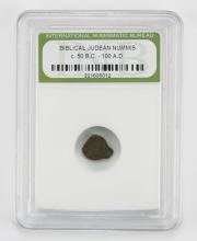 Biblical Judean Nummis Circa 50AD - 100AD encased in Plastic Holder. This Coin is NOT Professionally Graded, We DO NOT Grade Coins, Please See Photos and/or Information to Make your Own Value Judgment as to the Condition of this Coin. Shipping $20.00