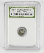 Celtic Style Silver Nummis Circa 100BC - 500AD encased in Plastic Holder. This Coin is NOT Professionally Graded, We DO NOT Grade Coins, Please See Photos and/or Information to Make your Own Value Judgment as to the Condition of this Coin. Shipping $20.00