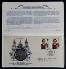 First Day Cover of the British Stamps and Official One-Crown Coin Honoring the Royal Wedding of Prince Charles and Lady Diana Spencer. Includes 1981 Booklet, Stamps, and Commemorative Coin. Booklet Measures 4-3/4 Inches by 9 Inches. Shipping $10.00