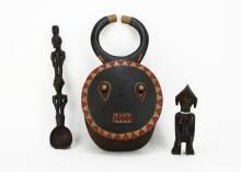 Two (2) Carved African Wooden Items together with Broken African Carved and Painted Wooden Mask. Shipping $20.00