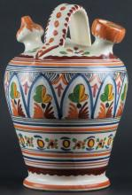 Toledo Painted Ceramic Wine Jug. Signed Under Base Sancyuino and Toledo. Good Condition. Measures 10 Inches Tall and 6-1/2 Inches Wide. Shipping $40.00