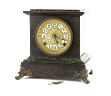 Antique Seth Thomas Wooden and Faux Marble Mantle Clock. Lovely Decorative Face Dial. Time and Strike. Running Condition. Measures 11 Inches Tall by 9-1/2 Inches Wide. Shipping $50.00