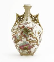 19th C. Royal Rudolstadt Porcelain Floral Hand Painted Bulbous Vase. Signed