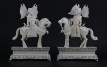 Magnificent Pair of 19th C. Chinese Carved Ivory and Bejeweled Emperor and Empress Warrior Figures on Horseback. Unsigned. Depicts Emperor and Empress Figure Holding Staff with Chinese Army Flags Hanging from the Armor. Various Natural Stones Inlaid on Su