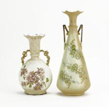 Pair of Royal Rudolstadt Gilt Hand Painted Floral Vases. Marked