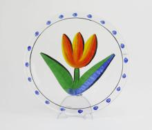 Kosta Boda Hand Painted Tulip Serving Plate. Artist Made by Ulrica Hydman-Vallien. Depicts a Tulip Still Life Image. Good Condition. Measures 13 Inches in Diameter. Shipping $45.00