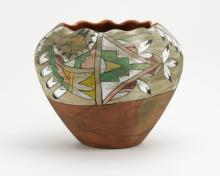 Pre Columbian Hand Painted Aztec Ceramic Ceramonial Vase. Painted Tribal Designs