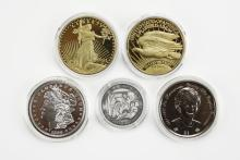 Collection of Five (5) Various Copied Encased Coins. Includes Two (2) Gold Plated U.S. 1933 Double Eagle Proof Coin COA Included, 1889 Silver Proof, 1961-1997 Princess Diana Silver Dollar, and a Silver Religious Coin. Good Condition.