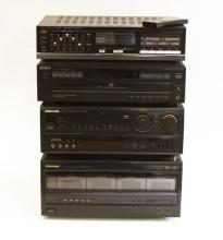 Collection of Home Entertainement/Stereo System. Includes Pioneer  Disc Player, Pioneer Stereo Receiver, Sony Disc Player Receiver, Fisher Equalizer. Good Used Condition.