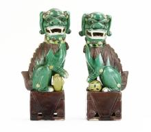 Pair of Chinese Hand Painted Foo Dog Figural Book Ends. Unsigned. Good Condition.