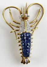 4.15 Carat Blue Sapphire, 0.22 Carat Diamond and 18 Karat Yellow and White Gold Crayfish Pin. Signed on Cartouche. Weighs 6.60 Pennyweights. Measures 1-7/8 Inches by 1-1/4 Inches. Shipping $20.00