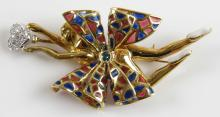 0.24 Carat Diamond, Enamel and 18 Karat Yellow and White Gold Flower Pin. Unsigned. Weighs 12.00 Pennyweights. Measures almost 2-1/2 Inches Long. Shipping $20.00