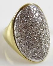Pave Set Diamond Mounted 18 Karat Yellow Gold Ladies Ring, Size 7. Signed 750 and Makers Hallmarks. Good Condition. Gross Weighs 12.40 Pennyweights. Shipping $20.00