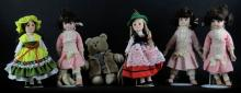 Five (5) Porcelain Dolls Mounted on Stands together with Teddy Bear. Two (2) Signed Effenbee. Good Condition. Tallest Measures 11 Inches Tall. Shipping $45.00