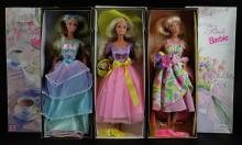Spring Blossom Barbie, First in a Series, Spring Petals Barbie, Second in a Series and Spring Tea Party Barbie, Third in a Series Dolls. All in Original Boxes. Excellent Condition. Shipping $35.00