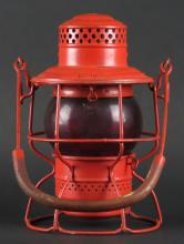 Vintage Adams & Westlake Railroad Lantern with Red Globe. Signed. Good Condition or Better. Measures 9-1/2 Inches Tall. Shipping $25.00