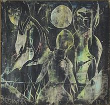 Edward Balchowsky, American (1916-1989) Framed 20th Century Mixed Media Abstract Surrealist Art. Signed Lower Left. Good Condition. Measures 16-1/4 Inches High by 16-1/4 Inches Wide. Shipping $80.00