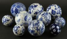 Collection of Ten (10) Chinese Blue and White Ceramic Balls. Unsigned. Good Condition. Largest I See Measures about 4-1/2 Inches Diameter. Shipping $70.00