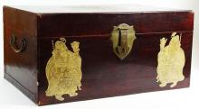 Vintage Asian Lacquered and Enameled Blanket Chest. Brass Hardware. Lacquered Interior. Unsigned. Wear, Losses, Water Rings on Interior, Edge Scuffs. Measures 13-1/2 Inches Tall, 27-1/2 Inches Length, 18 Inches Width. We will not ship this item due to its