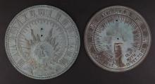Two (2) Vintage Sundials With Roman Numerals. Unsigned. Missing Pointed Dial, Otherwise Good Condition. Largest Measures 11 Inches Diameter. Shipping $20.00