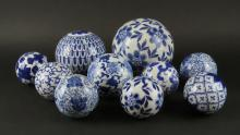 Collection of Ten (10) Chinese Blue and White Ceramic Balls. Unsigned. Good Condition. Largest I See Measures about 5-1/2 Inches Diameter. Shipping $70.00