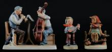 Three (3) Figurines Including: Goebel Hummel  Norman Rockwell #216. Signed. Good Condition, Together With Goebel Hummel Just Resting # 112. Signed. Good Condition and Royal Crown Kiddy Band #3668. Tallest Measures 5-1/2 Inches Tall and 6 Inches Long. Shipping $20.00