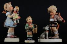 Three (3) Goebel Hummel Figurines Including: Kiss Me #311. Signed. Some Crazing Otherwise Good Condition, Not For You # 317. Signed. Good Condition and Village Boy # 513/0. Signed Some Fade to Paint Otherwise Good Condition. Tallest Measures 6 Inches Tall and 3 Inches Long. Shipping $20.00