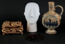 Miscellaneous Lot Including: Modernist White Stone Bust, Art Nouveau Style Box (lid not attached) Wooden Carving Sea Creature and Delft's Holland Ceramic Urn with Handle (discolored) Shipping $36.00