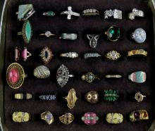 Miscellaneous Lot of Thirty Six (36) Costume Jewelry Rings. Good Condition. Shipping $20.00