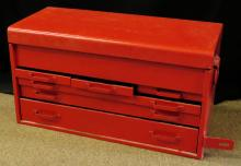 Vintage Snap-on Six (6) Drawer Tool Box Chest.  Model Unknown. Repainted, Has Dents, Original Lock Missing Otherwise Good Condition. Measures 26 Inches Long and 14 Inches Tall. We Will Not Ship This Item In-House Due To Its Size, But Would Be Happy To Recommend a List Of Gallery Approved Vendors On Request.