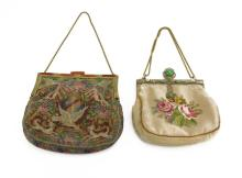 Lot of Two (2) Antique Victorian Needle Point Purses. Wear to One (1) Purse or else Good Condition. Measures 7-1/2