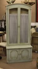 Pair of Vintage Italian Painted Cabinets with Wire Mesh Front. Some Wear to Finish, Chip to Base on One (1) Figure Nicks, or else Good Ciondtion. Measures 81