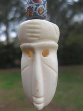 African carved Ivory mask Necklace with 7 glass beads
