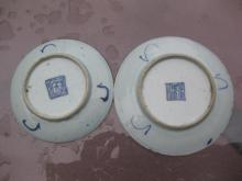 Pair of Chinese porcelain white-blue saucers, Qing Dyna