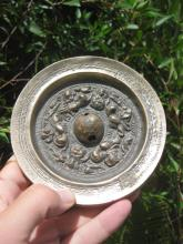 E Han d Chinese cast bronze mirror, heavy, unusually thick-15mm, diameter-128mm